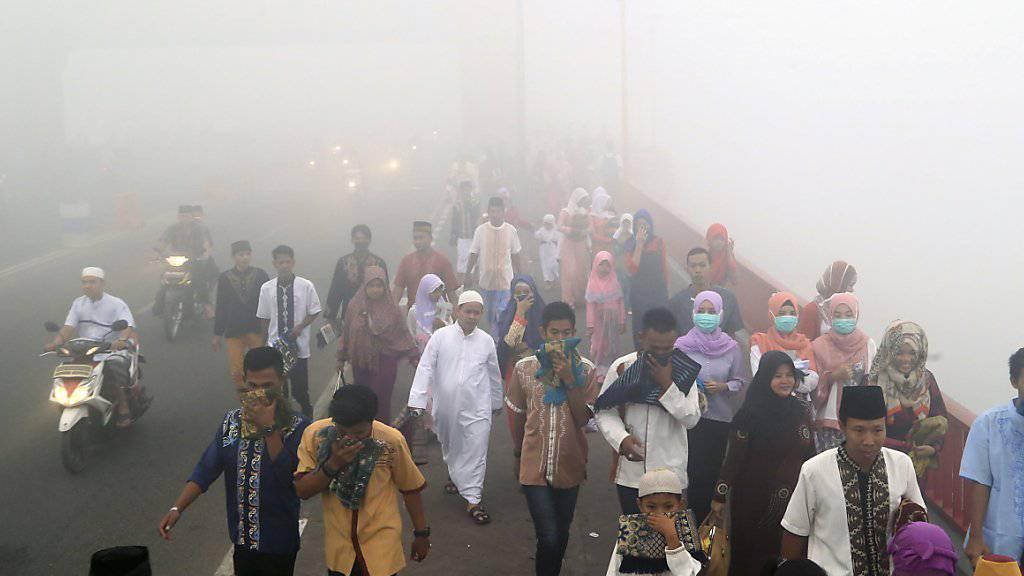 Stark eingeschränkte Sicht: Muslime auf Sumatra gehen zum Morgengebet - wegen des starken Rauchs tragen viele Gesichtsmasken oder halten sich Tücher vor Nase und Mund.