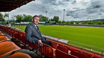 «Im Moment ist es eher unwahrscheinlich, dass ich den FC Aarau als Präsident ins neue Stadion begleiten werde.» Alfred Schmid auf den Sitzplätzen im Brügglifeld.EMANUEL FREUDIGER
