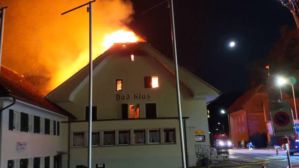 Schock: Restaurant Bad Klus in Oensingen brennt nieder