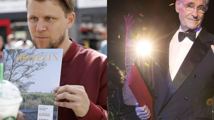 """Stehen im April als Erzähler im Musical """"Rocky Horror Show"""" auf der Bühne: Rapper und Moderator Knackeboul (links) und Schauspieler Sky du Mont."""