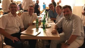 Sei referierten und diskutierten mit den CVP-Delegierten über die Steuervorlage 17: (v.l.) Josef Maushart, Pirmin Bischof, Thomas Steiner (Amt für Gemeinden), Oskar Ackermann (Amt für Steuern) und Regierungsrat Roland Heim.