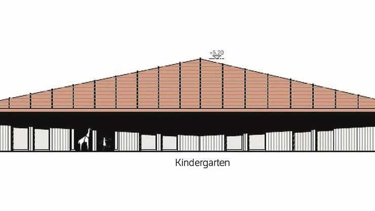 Der Projektvorschlag des Büros Froelich & Hsu Architekten aus Brugg/Zürich – hier die Ansicht Nord – hat die Arbeitsgruppe und den Gemeinderat überzeugt.