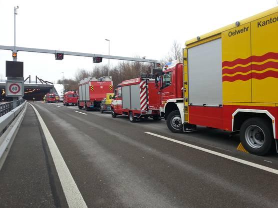 Die aufgebotenen Rettungskräfte vor dem Schinznacherfeldtunnel.