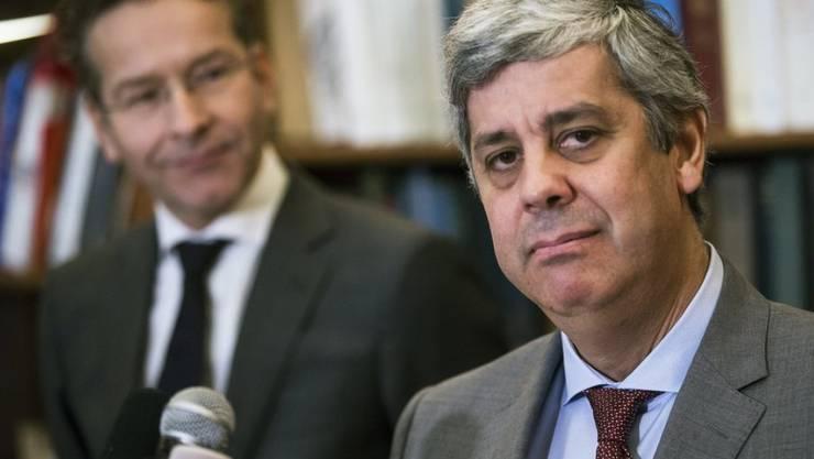 Der Portugiese Mario Centeno (r.) löst den Niederländer Jeroen Dijsselbloem (l.) an der Spitze der Eurogruppe ab.