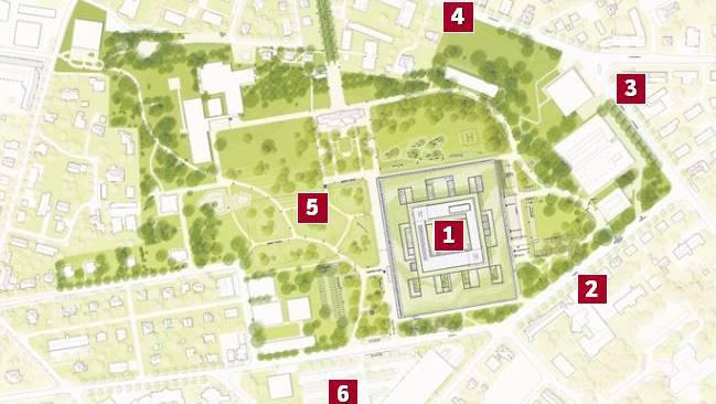 Der Spitalneubau «Dreiklang» (1), die Zufahrtsstrasse Südallee (2), die Bavaria-Kreuzung (3), die Schäferwiese (4), der Standort des heutigen Hauses 1 und künftigen Parks (5) und der Standort des neuen Parkhauses an der Tellstrasse (6).
