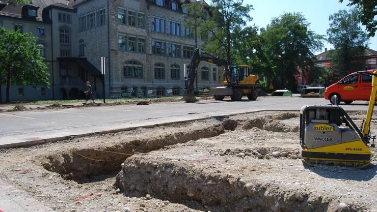 KANTIPARK ALS BAUSTELLE: Der Kantipark wird gegenwärtig neu gestaltet und sicherer gemacht. (Bild: Deborah Balmer)