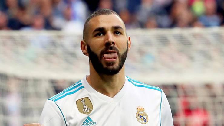 Real Madrids Karim Benzema feiert sein 1:0 im Heimspiel gegen Malaga