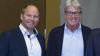 Marc Girardelli - hier links neben seinem Vorgänger beim SRF, Bernhard Russi  - findet sich beim Schweizer Fernsehen gut aufgehoben. Schliesslich lebe er ja schon mehr als sein halbes Leben in der Schweiz. (Archivbild)
