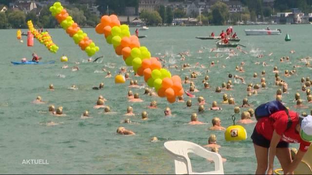 9000 Schwimmer nehmen an 30. Zürcher Seeüberquerung teil