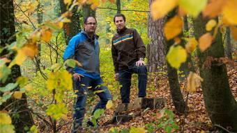 Patrick Bürgi (links) und Robin Bauer machen sich für den Kindergarten im Wald stark. Alex Spichale