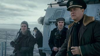 «Wie kommen wir da heraus?» Tom Hanks auf dem Zerstörer (Codename Greyhound), umzingelt von deutschen U-Booten.