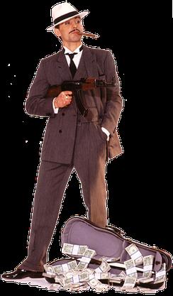 Der Mafioso ist die beliebteste Kostümierung von Kostüm Kaiser. Das Set umfasst: Nadelstreifenanzug, Seidengilet, Fliege, Maschinenpistole und Borsalino-Hut.