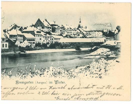 An Mademoiselle Bodmer in Neuchâtel ging diese Postkarte aus dem winterlichen Bremgarten im Jahr 1899.