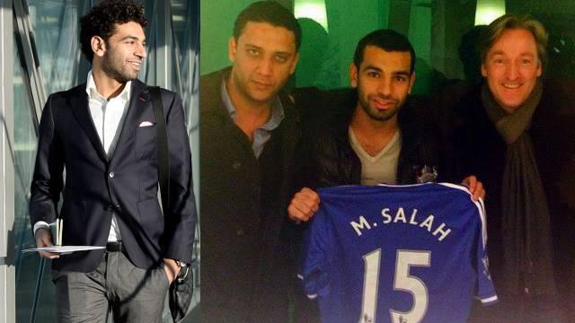 Abschied: Mohamed Salah hat Basel in Richtung London verlassen. Stolz zeigt er seine neue Rückennummer (rechts sein Berater Sascha Empacher).