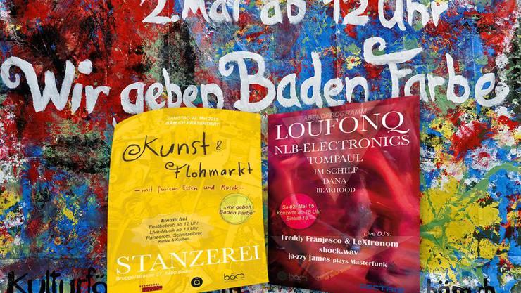 bäm.ch «gibt Baden Farbe» am 2. Mai 2015 in der Stanzerei Baden.