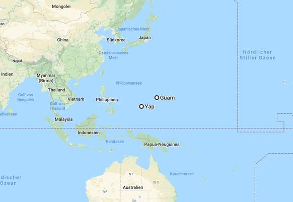 Hier liegt Yap und das rund 800 Kilometer entfernte Guam.