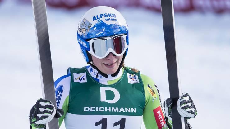 Die Slowenin Ilka Stuhec war im Abfahrtstraining der Frauen die Schnellste - Zeit: 1:33.37