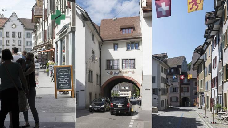 Drei Aargauer Altstädte: Aarau, Mellingen, Laufenburg.