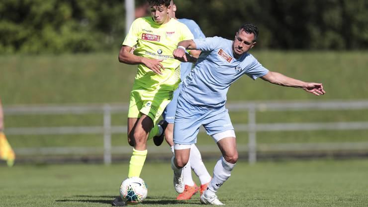 Solothurn-Spieler Jano Loosli (l., hier während der Cup-Qualifikation gegen zug) und seine Teamkollegen mussten sich zum Auftakt der Saison in der 1. Liga mit einem Unentschieden begnügen.