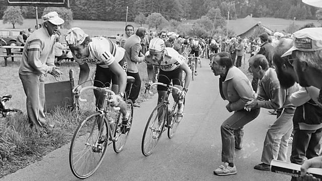 Claude Criquielion (links) an der Tour de Suisse 1985 vor Beat Breu