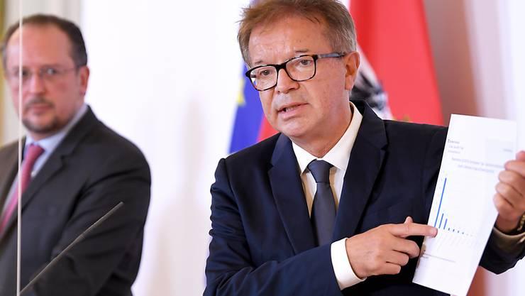 Österreichs Gesundheitsminister Rudolf Anschober spricht in Wien. Foto: Roland Schlager/APA/dpa
