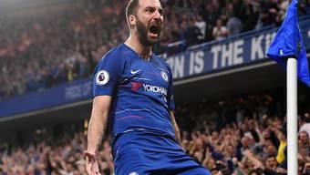 Chelseas Gonzalo Higuain freut sich über sein 2:1. Dennoch holt Chelsea gegen Burnley nur einen Punkt
