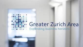 Das Logo der Greater Zurich Area AG an der Bilanzmedienkonferenz, 21. März 2017 in Zürich.