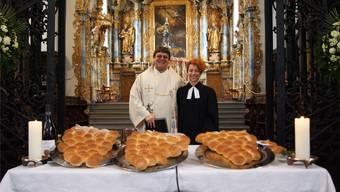 Adrian Bolzern und Corinne Dobler in der Klosterkirche Muri. Hans Rechsteiner