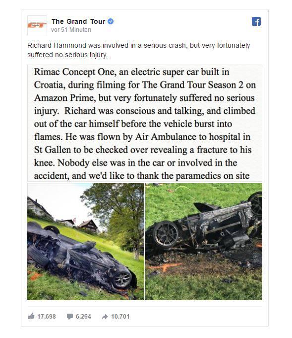 Tv Star Richard Hammond Bei Autorennen Verletzt Video Zeigt