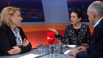 Yvonne Feri (SP) und Marianne Binder (CVP) diskutieren über den Vorschlag des Bundesrats zur Abschaffung der Heiratsstrafe.
