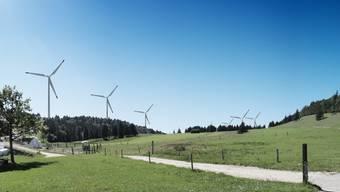 So soll der Windpark auf dem Grenchenberg aussehen. Umweltverbände ziehen ihre Einsprachen aber nach wie vor weiter. (Archiv)