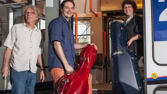 «Halt auf Verlangen» mit Vorleser Christian Hänni und den Cellisten David Reitz und Eva Lehnherr. psi