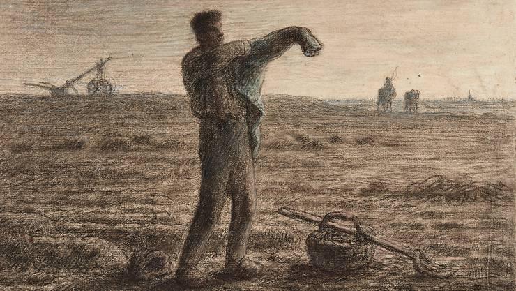 «Der Feierabend», um 1858, Pastellkreide und Kohle auf Vergépapier, 27,2×38,1 cm. Kunstmuseum Bern, Legat Cornelius Gurlitt 2014, Provenienz in Abklärung / aktuell kein Raubkunstverdacht. Gurlitt liess zu dieser Zeichnung eine Expertise machen, wie er sie erwarb, ist unklar.