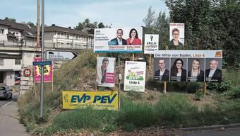 Wahlplakate in Baden: Eine transparente Politikfinanzierung würde die Demokratie stärken, ist die SP überzeugt.
