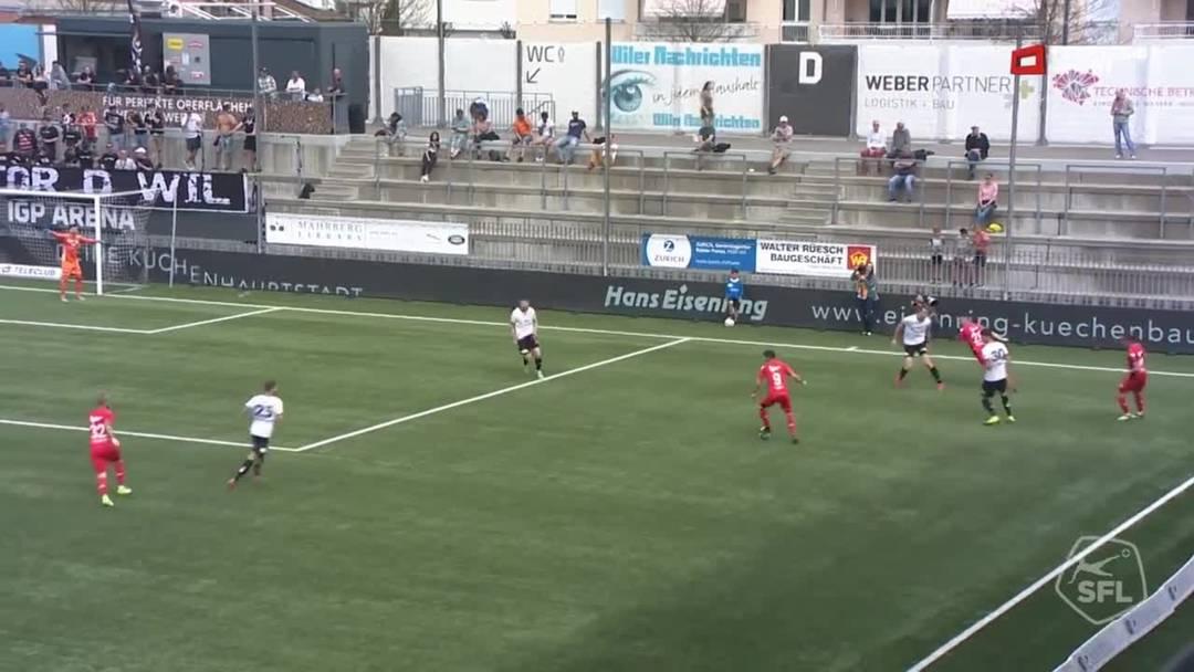 53. Minute: Nach einem Absatztrick von Marco Schneuwly leitet Varol Tasar den Ball weiter zu   Markus Neumayr. Sein Schuss landet allerdings nicht im Tor, sondern direkt und sicher in den Armen von Wil-Torhüter Zivko Kostadinovic.