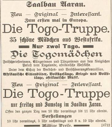 Mit Inseraten wurde vor 100 Jahren in Baden und Aarau für sogenannte «Völkerschauen» geworben.