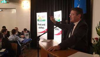 SVP-Kantonalpräsident Thomas Burgherr wirbt am Parteitag für ein Nein zur AHV-Steuervorlage.