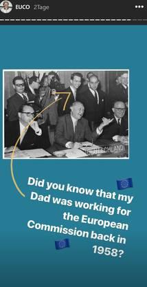 Dieses Foto postete Ursula von der Leyen auf Instagram. Es zeigt ihren Vater an der Seite von Deutschlands erstem Nachkriegskanzler Konrad Adenauer.