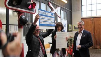 Freude herrscht bei (von links) Bahnpark-Präsident Gregor Tomasi, Jury-Obfrau Nicoletta Brentano-Motta sowie NAB-CEO Roland Herrmann.