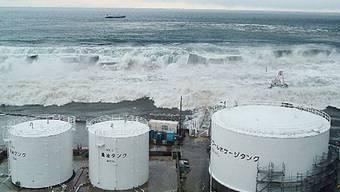Hier treffen die Wellen des Tsunamis auf das Atomkraftwerk Fukushima