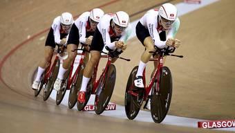Der Schweizer Bahnrad-Vierer überzeugte in der Qualifikation zur Team-Verfolgung