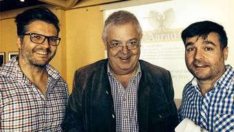 Sie sind für die Festwirtschaft verantwortlich: Geschäftsführer Marcel Suter (Mitte) zusammen mit den OK-Mitgliedern Georges Antoniadis (links) und Gusti Burkart. zvg