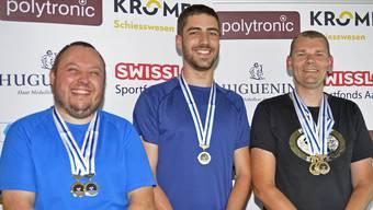 Geschlagener Dominator: Dieter Grossen (rechts) musste sich im C-Match nebst drei Goldmedaillen mit Bronze hinter Christian Klauenbösch (Mitte) und Bernhard Kayser begnügen