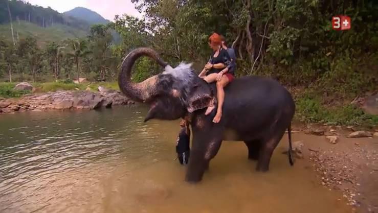 Beim Elefantenwaschen kommen sich die beiden näher.
