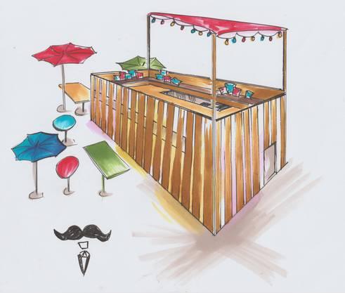 So soll die zweistöckige Beiz Monsieur Prisma dereinst aussehen. Zu sehen sein wird der Holzbau am Stadtfest in Brugg Ende August 2019.