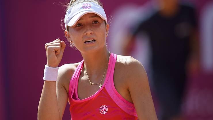 Grund zur Freude hatte Juniorin Leonie Küng bei ihrem Debüt auf der WTA-Tour vor allem während der ersten halben Stunde gegen Johanna Larsson