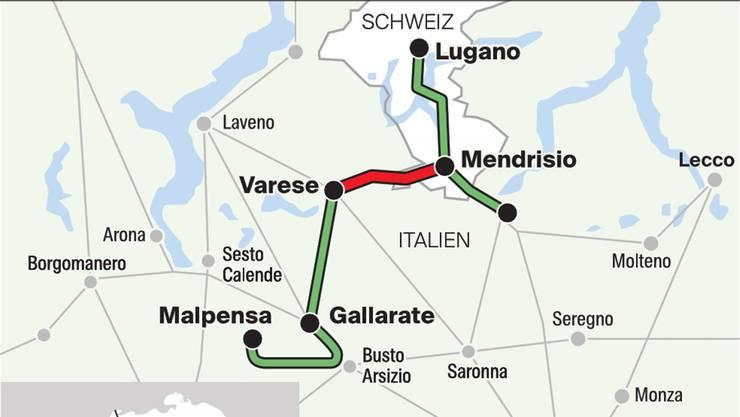 Die neue Bahnlinie (rot markiert) hätte Mendrisio und Varese verbinden sollen.