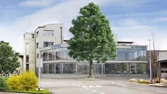 Visualisierung der Büroerweiterung der Firma Pfiffner am Lindenplatz in Hirschthal.