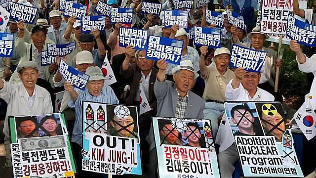Proteste in Südkorea gg. Nordkorea