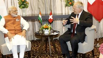 Bundespräsident Schneider-Ammann und Indiens Premierminister Modi haben sich am Montag in Genf getroffen.